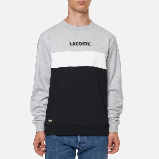 Мужская толстовка Lacoste Sport Crew Neck Colourblock Fleece Silver Chine/Black/White
