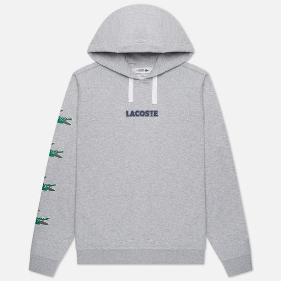 Мужская толстовка Lacoste Sport Crocodile Print Hoodie Grey Chine