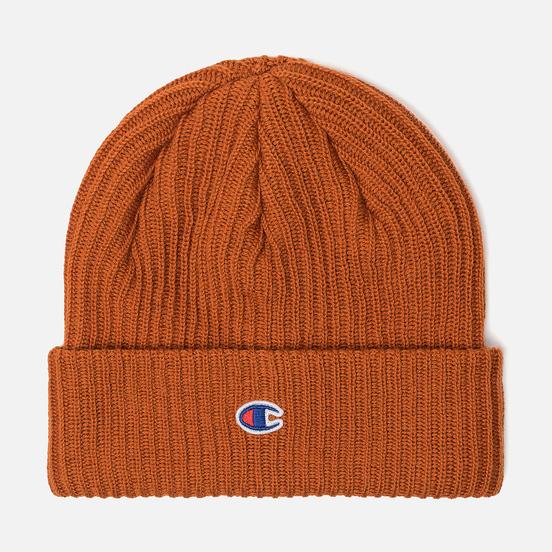 Шапка Champion Reverse Weave Merino Knit Beanie Logo Brown