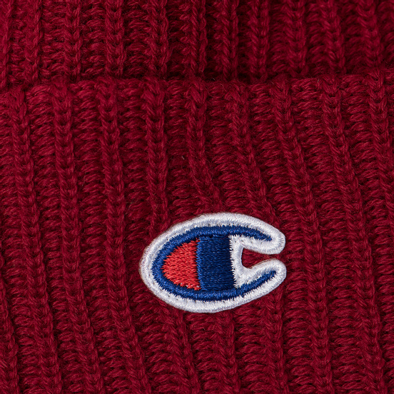 Шапка Champion Reverse Weave Merino Knit Beanie Logo Burgundy