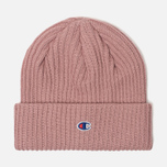 Шапка Champion Reverse Weave Merino Knit Beanie Logo Pink фото- 0