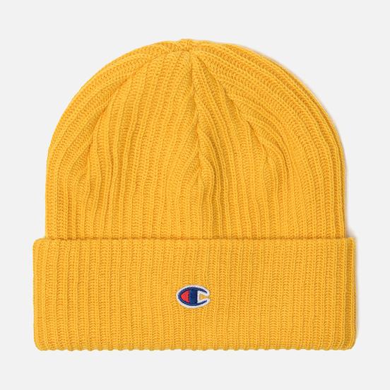 Шапка Champion Reverse Weave Merino Knit Beanie Logo Yellow