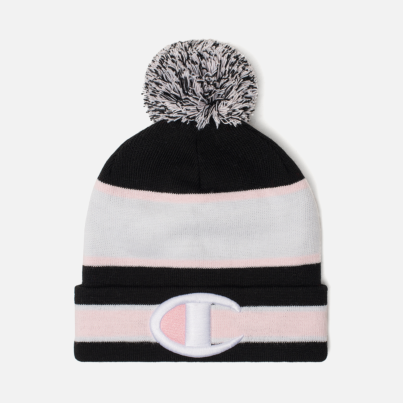 Шапка Champion Reverse Weave Striped Bobble Black/White/Pink