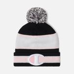 Шапка Champion Reverse Weave Striped Bobble Black/White/Pink фото- 0