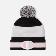 Шапка Champion Reverse Weave Striped Bobble Black/White/Pink фото- 0