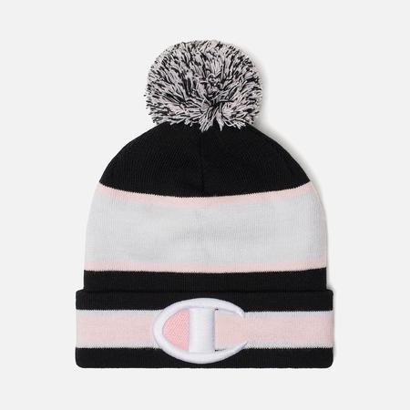 Шапка Champion Reverse Weave Striped Bobble Black/White/Pink