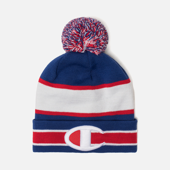 Шапка Champion Reverse Weave Striped Bobble Blue/Red/White