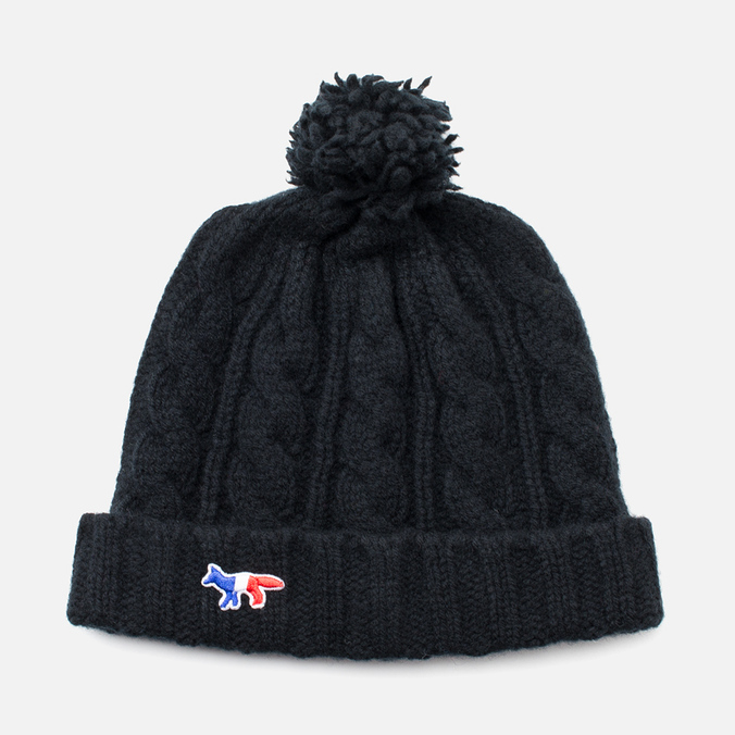 Maison Kitsune Cable Knitted Hat Black
