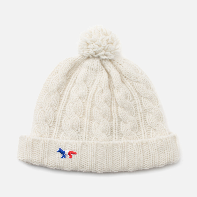 Maison Kitsune Cable Knitted Hat Ecru