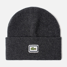 Шапка Lacoste Badge Thick Wool Blend Grey Chine фото- 0