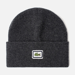 Шапка Lacoste Badge Thick Wool Blend Grey Chine