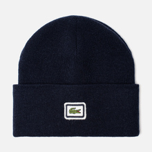 Шапка Lacoste Badge Thick Wool Blend Navy Blue фото- 0