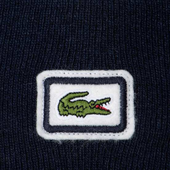Шапка Lacoste Badge Thick Wool Blend Navy Blue