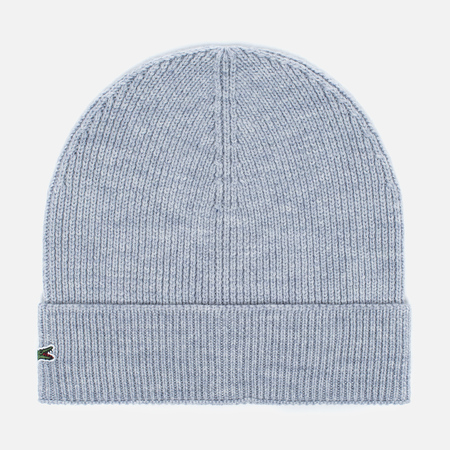 Шапка Lacoste Ribbed Wool Beanie Light Grey