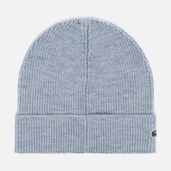 Шапка Lacoste Ribbed Wool Beanie Light Grey