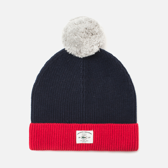 Шапка Lacoste Bobble Red/Grey/Navy