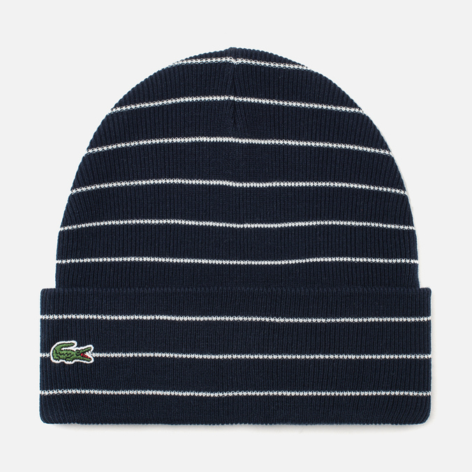 Lacoste Live Beanie Striped Jersey Hat Navy/White