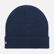 Шапка Lacoste Ribbed Wool Beanie Navy фото- 0