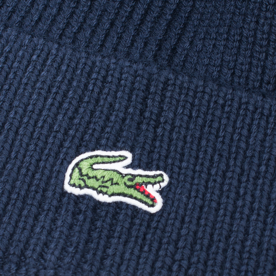 Шапка Lacoste Ribbed Wool Beanie Navy