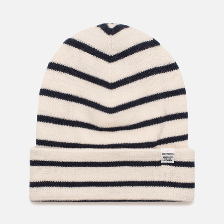 Мужская шапка Norse Projects Classic Normandy Beanie Ecru/Navy