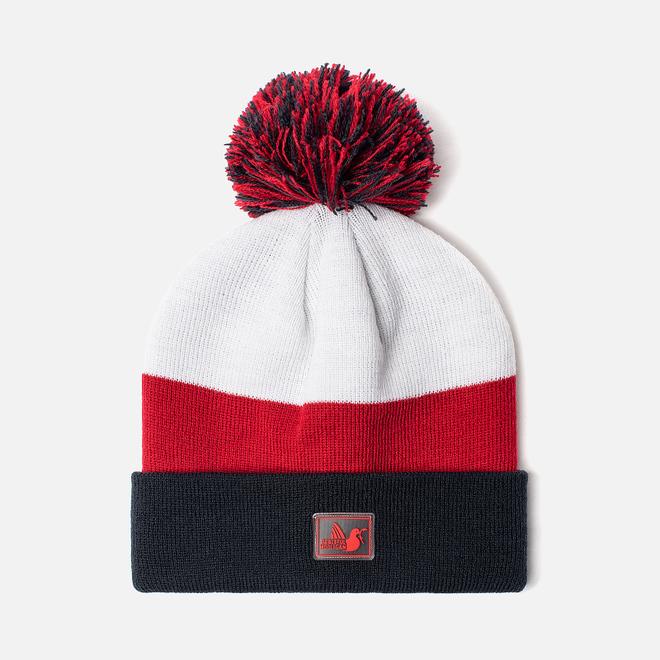 Шапка Peaceful Hooligan Stripe Pompom Navy/Red/White