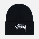 Stussy Stock Cuff Beanie Hat Black photo- 0