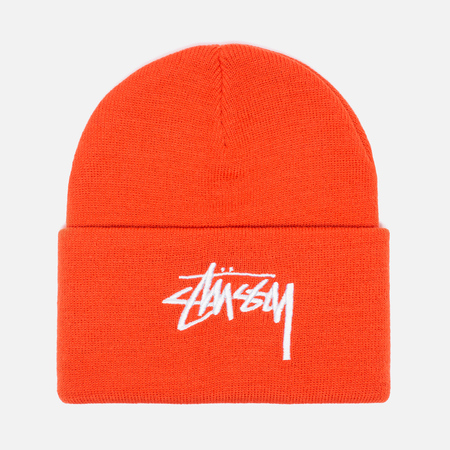 Stussy Stock Cuff Beanie Hat Orange