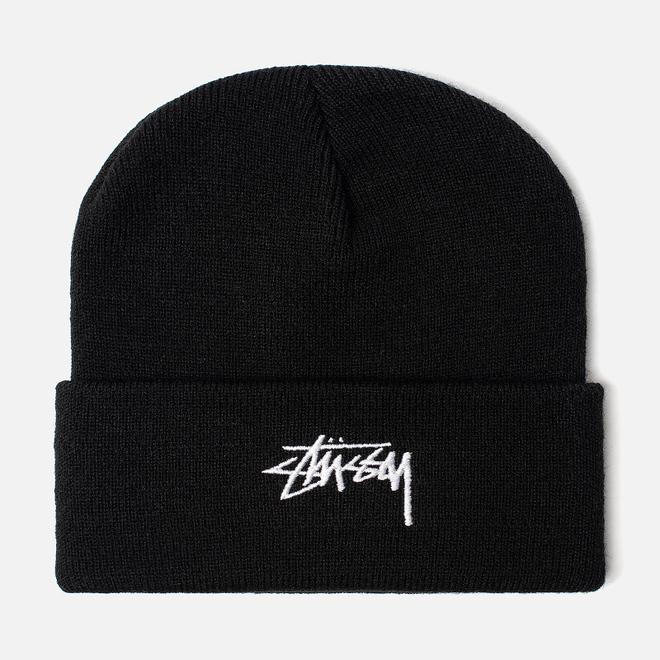 Шапка Stussy Stock Cuff Embroidered Logo Black
