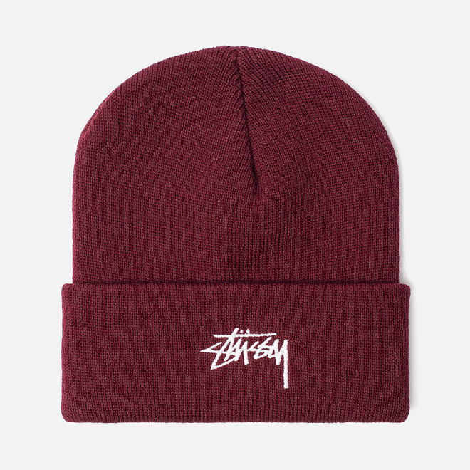 Шапка Stussy Stock Cuff Embroidered Logo Burgundy