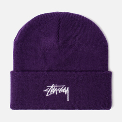 Шапка Stussy Stock Cuff Embroidered Logo Purple