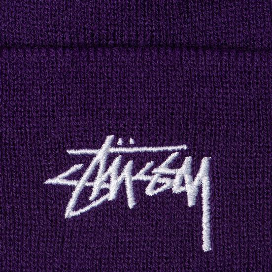 Шапка Stussy Stock Cuff Embroidered Logo Purple