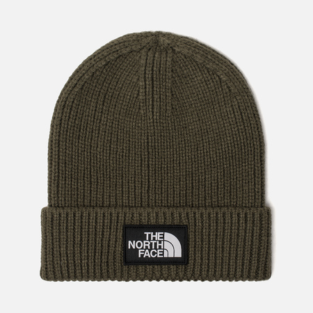 Шапка The North Face TNF Logo Box Cuffed Beanie New Taupe Green