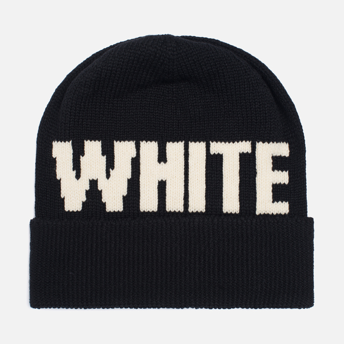 Шапка White Mountaineering White Big Logo Knit Black