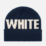 Шапка White Mountaineering White Big Logo Knit Navy фото- 0