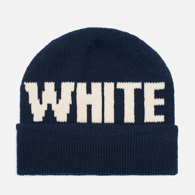 Шапка White Mountaineering White Big Logo Knit Navy