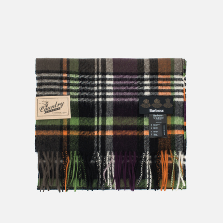 Barbour Bright Country Scarf Plaid Olive/Purple