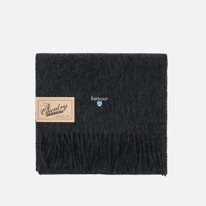 Barbour Plain Lambswool Scarf  Charcoal