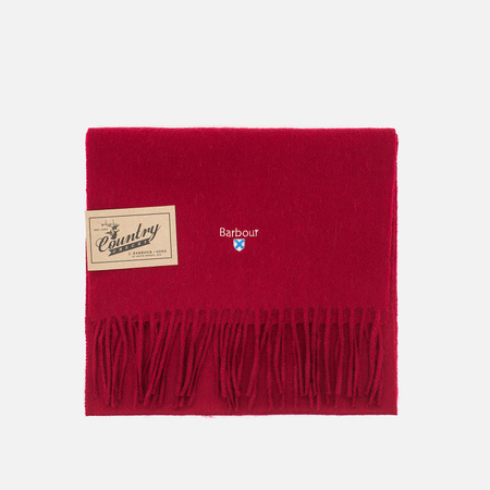 Barbour Plain Lambswool Scarf Red