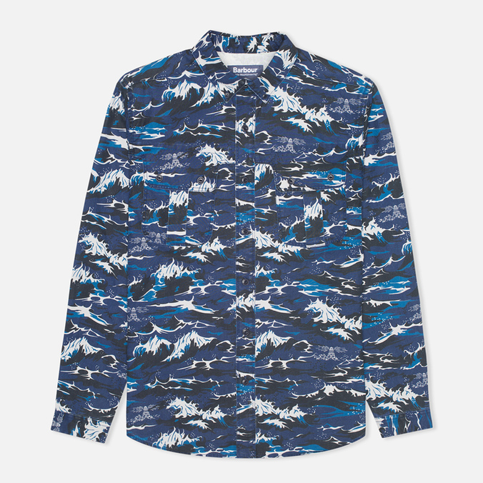 Мужская рубашка Barbour x White Mountaineering Wave Print Blue