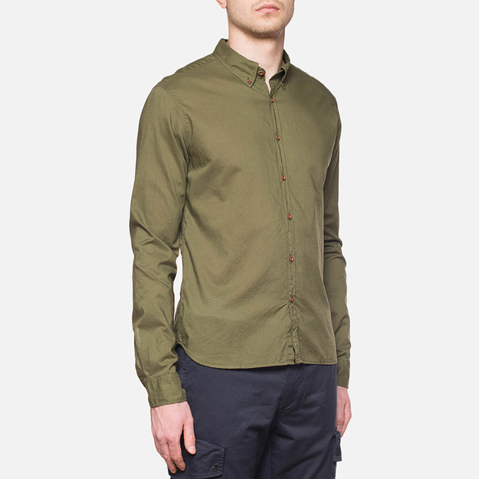 C.P. Company Long Sleeve Embossed Cotton Olive