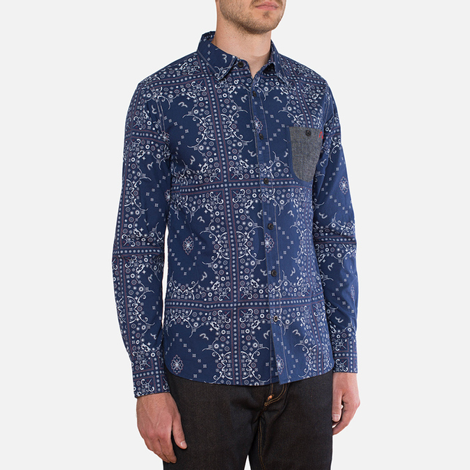 Мужская рубашка Evisu Genes Long Sleeve Bandana Shirt White/Indigo