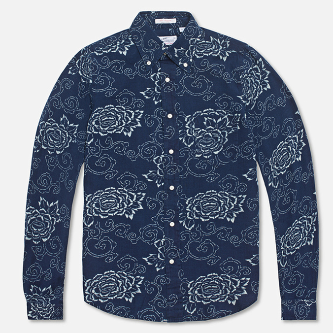 Мужская рубашка Gant Rugger Indigo Oxford Flower Dark Indigo