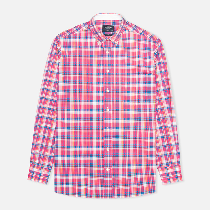 Hackett Bright Summer Check Men's Shirt Coral