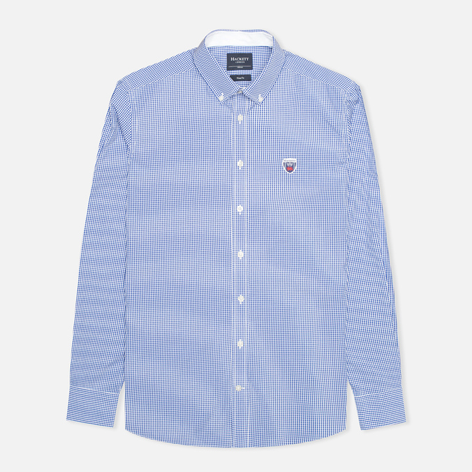 Мужская рубашка Hackett Gingham Badge White/Blue