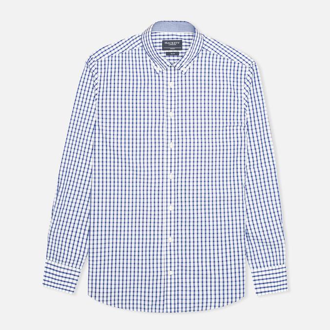Мужская рубашка Hackett Grid Check Multi Trim White/Blue