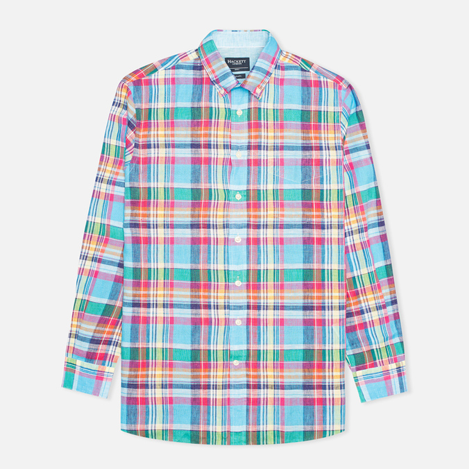 Hackett Linen Summer Plaid Men's Shirt Multicolor