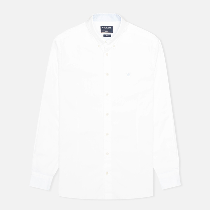 Hackett Washed Plain Pinpoint Men's Shirt White