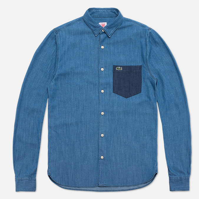 Мужская рубашка Lacoste Live Denim Shirt Blue