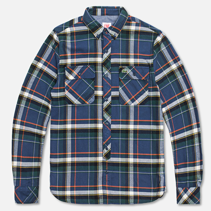 Мужская рубашка Lacoste Live Large Check Blue