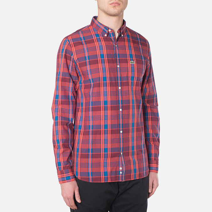 Мужская рубашка Lacoste Live Skinny Fit Checked Shirt Sandalwood/Marinere/Bordeaux